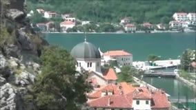 Cerca de Kotor Visión cuesta abajo, Montenegro almacen de metraje de vídeo