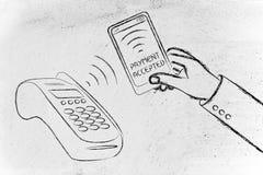 Cerca de la comunicación del campo, cliente que paga con su teléfono móvil Imágenes de archivo libres de regalías