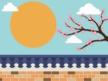 Cerca de la pared de piedra del estilo japonés con el árbol de Sakura libre illustration