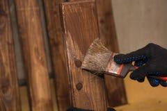 A cerca de madeira, é pintada Imagem de Stock