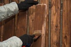 A cerca de madeira, é pintada Fotografia de Stock Royalty Free