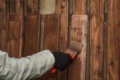 A cerca de madeira, é pintada Foto de Stock Royalty Free