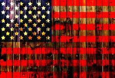 Cerca de madeira alemão unida Heart dos EUA, América, de matéria têxtil patriótica nacional do fundo do país do símbolo da bandei Imagem de Stock Royalty Free