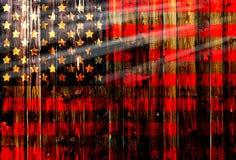 Cerca de madeira alemão unida Heart dos EUA, América, de matéria têxtil patriótica nacional do fundo do país do símbolo da bandei Imagens de Stock