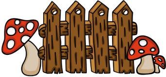 Cerca de madeira com cogumelos vermelhos ilustração stock