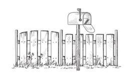 Cerca de madeira do esboço com postbox ilustração royalty free