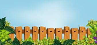 Cerca de madeira no jardim ilustração do vetor
