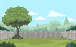 Cerca de madeira no quintal Fotografia de Stock