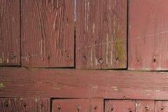 Cerca de madeira velha com textura do close up dos pregos Imagens de Stock Royalty Free