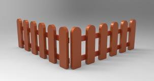 Cerca de madera 3D Imagenes de archivo