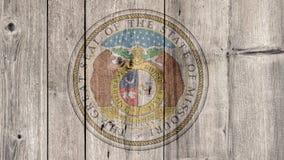 Cerca de madera del sello de Missouri del estado de los E.E.U.U. imagen de archivo