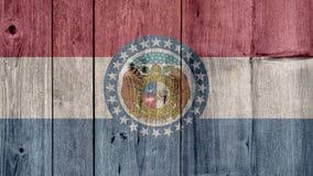 Cerca de madera de la bandera de Missouri del estado de los E.E.U.U. imagenes de archivo