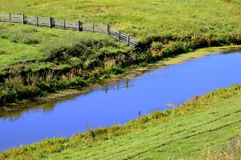 Cerca de madera reflejada en el río azul Árbol en campo Imagen de archivo