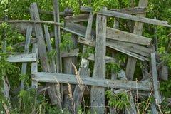 Cerca de madera vieja artístico renovada Imagen de archivo