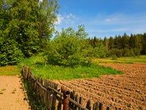 Cerca de madera vieja en el país Foto de archivo libre de regalías