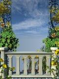 Cerca de piedra con las flores amarillas Foto de archivo