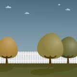 Cerca de piquete com árvores ilustração royalty free
