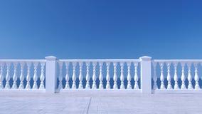 Cerca decorativa branca feita do concreto na margem do mar filme