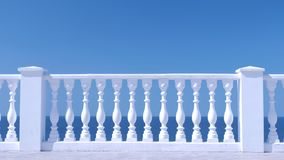 Cerca decorativa branca feita do concreto na margem do mar, opinião do close up video estoque