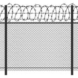 Cerca del metal de la privacidad de la prisión con la silueta negra inconsútil del vector del alambre de púas Imagenes de archivo