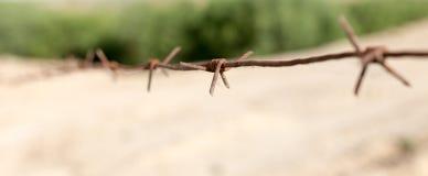 Cerca do arame farpado na natureza Fotografia de Stock