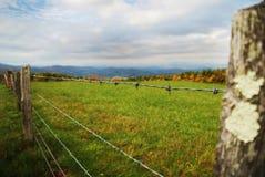 Cerca e campo do arame farpado Foto de Stock Royalty Free