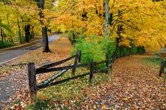 Cerca e estrada no outono Fotos de Stock