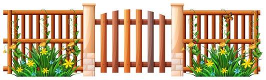 Cerca e porta de madeira ilustração do vetor