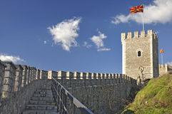 Cerca e torre de vigia de pedra - fortaleza do Kale, Skopje foto de stock