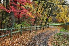 Cerca e trajeto no outono Foto de Stock Royalty Free