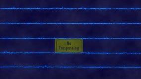 Cerca elétrica sem o sinal infrinjindo ilustração stock