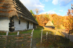 Cerca en aldea del otoño Imágenes de archivo libres de regalías