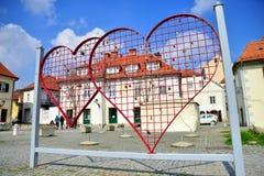 Cerca en forma de corazón con las cerraduras en Maribor, Eslovenia Fotografía de archivo