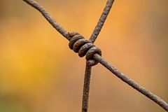 Cerca esquecida longa da exploração agrícola de Rusty Wire Connection On A imagem de stock royalty free