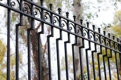 Cerca labrada hermosa Imagen de una cerca decorativa del arrabio  Cerca del metal cerca hermosa con la forja artística Foto de archivo libre de regalías
