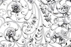 Cerca ornamentado cinzenta velha isolada no branco Fotos de Stock Royalty Free
