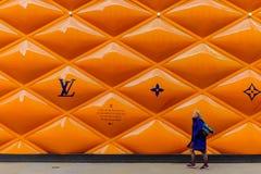 Cerca Panels-2 do terreno de construção Londres-LV fotos de stock