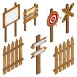 Cerca, quadros indicadores de madeira, sinal da seta, dardo do alvo Fotografia de Stock Royalty Free