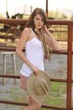 Cerca que sube del Cowgirl joven Imagen de archivo libre de regalías