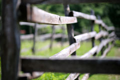 Cerca rural de madera vieja del corral en prado Fotografía de archivo