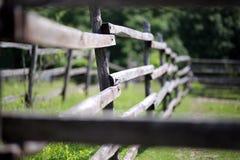 Cerca rural de madera vieja del corral en prado Imagen de archivo libre de regalías
