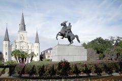 Cerca Saint Louis Cathedral Statue do ferro forjado de Andrew Jackson Foto de Stock Royalty Free