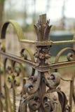 Cerca vieja, oxidada del hierro labrado Imágenes de archivo libres de regalías