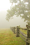 Cerca y árboles en niebla fotografía de archivo