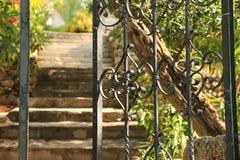 Cerca y escaleras abiertas del hierro en el patio trasero Imagenes de archivo