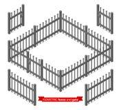Cerca y puerta isométricas del metal Imagen de archivo libre de regalías