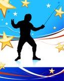 Cercado de deporte en fondo patriótico americano Imagen de archivo libre de regalías