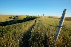 Cercado del coulee de Saskatchewan imagenes de archivo