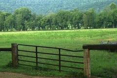 Cercado en pista de pasto de la granja fotografía de archivo libre de regalías
