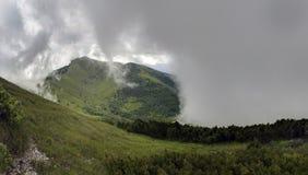 Cercado por nuvens na peça superior de Mala Fatra National Park, Eslováquia Fotos de Stock Royalty Free